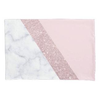 elegant girly rose gold glitter white marble pink pillowcase