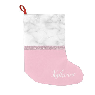 Elegant girly rose gold glitter white marble pink small christmas stocking