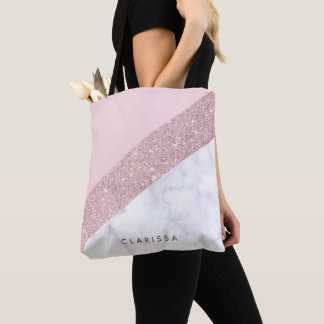 elegant girly rose gold glitter white marble pink tote bag
