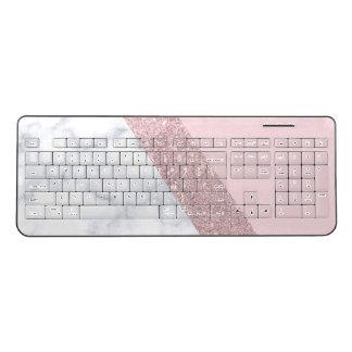 elegant girly rose gold glitter white marble pink wireless keyboard