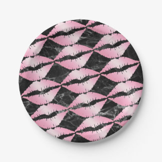 elegant girly rose gold lips pattern black marble paper plate