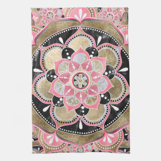 Elegant girly tribal mandala design kitchen towel