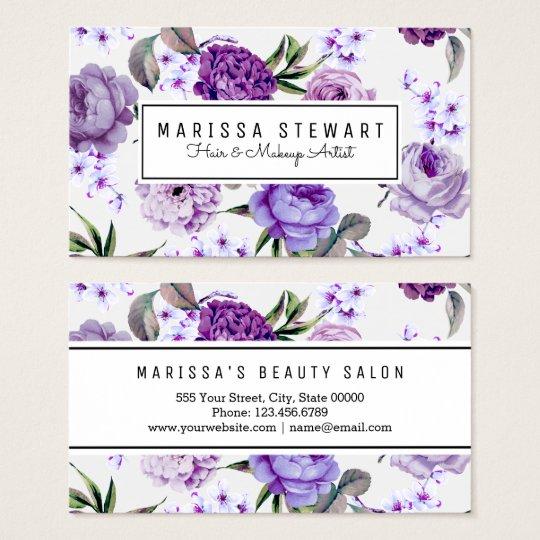 Elegant Girly Violet Lilac Purple Flowers Business Card