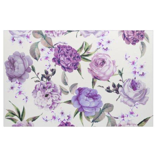 Elegant Girly Violet Lilac Purple Flowers Fabric