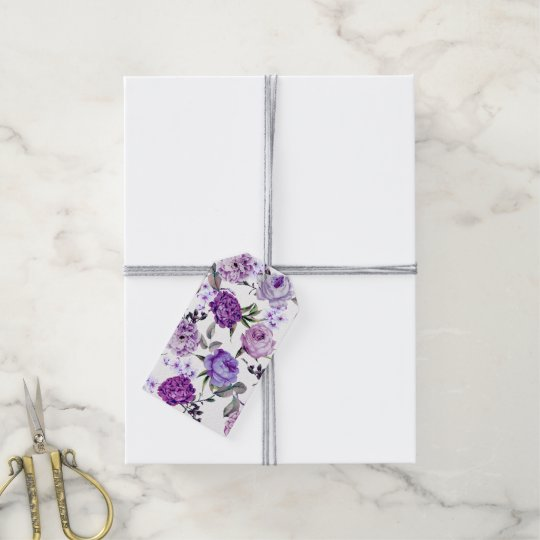 Elegant Girly Violet Lilac Purple Flowers Gift Tags