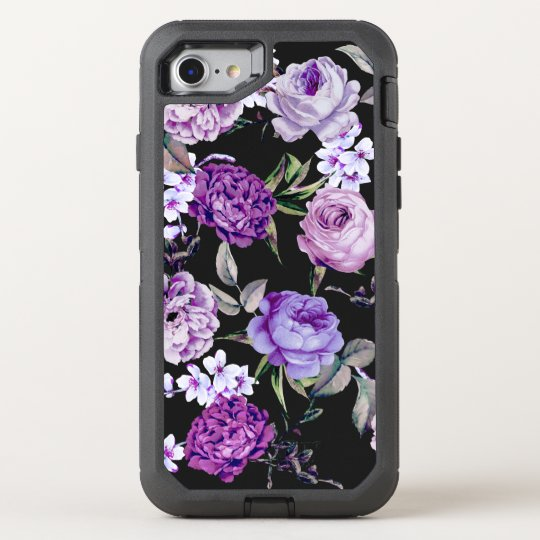 Elegant Girly Violet Lilac Purple Flowers OtterBox Defender iPhone 8/7 Case