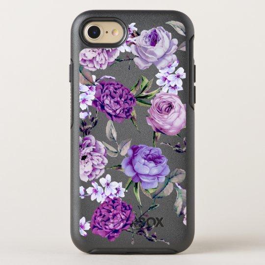 Elegant Girly Violet Lilac Purple Flowers OtterBox Symmetry iPhone 8/7 Case