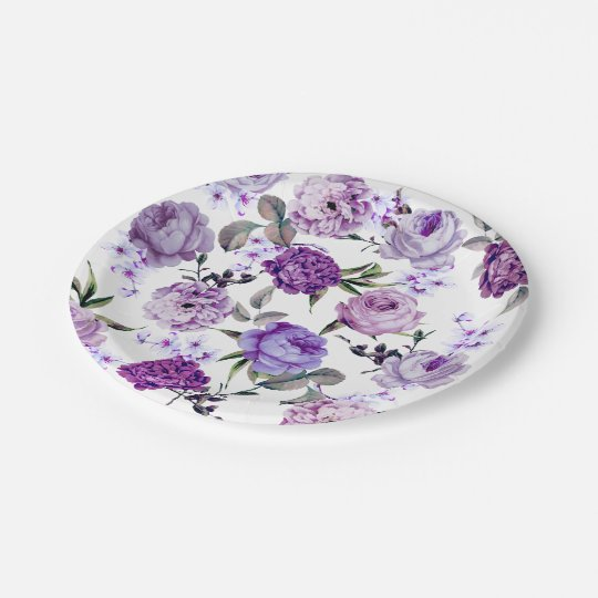 Elegant Girly Violet Lilac Purple Flowers Paper Plate