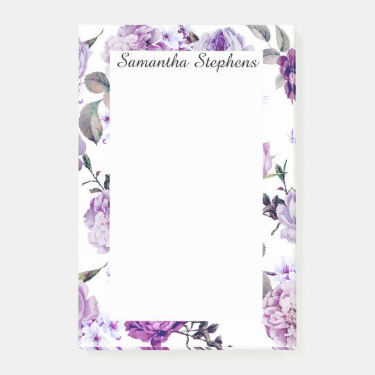 Elegant Girly Violet Lilac Purple Flowers Post-it Notes
