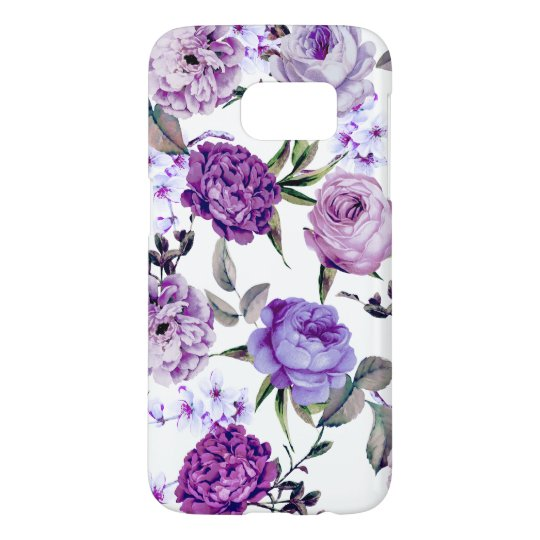 Elegant Girly Violet Lilac Purple Flowers Samsung Galaxy S7 Case
