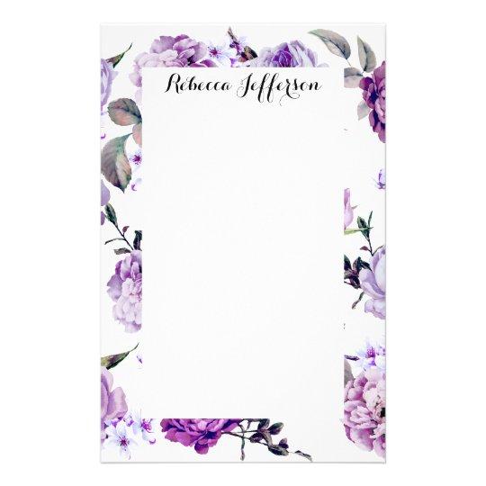 Elegant Girly Violet Lilac Purple Flowers Stationery