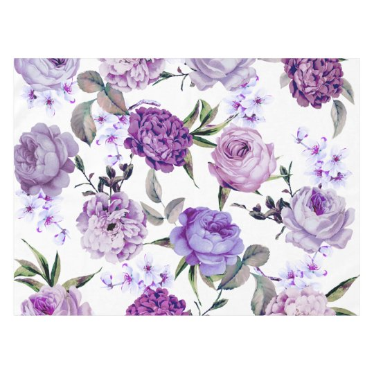 Elegant Girly Violet Lilac Purple Flowers Tablecloth