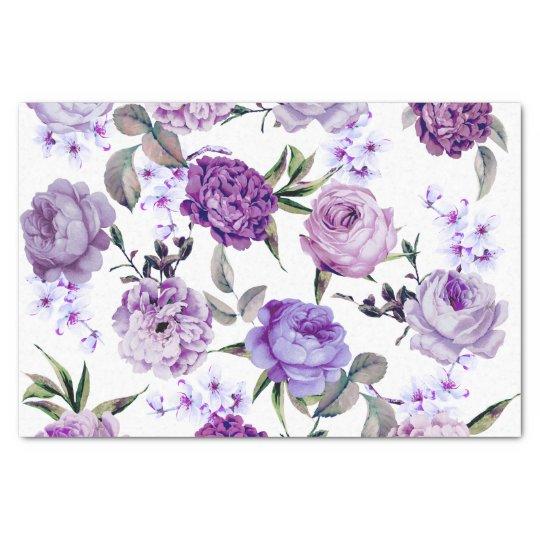 Elegant Girly Violet Lilac Purple Flowers Tissue Paper
