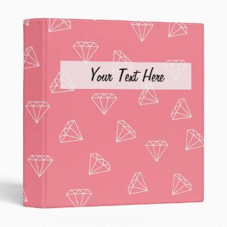 elegant girly white diamonds pattern pastel pink 3 ring binders