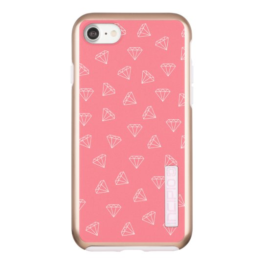 elegant girly white diamonds pattern pastel pink incipio DualPro shine iPhone 8/7 case