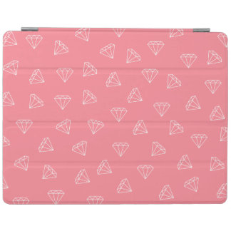elegant girly white diamonds pattern pastel pink iPad cover