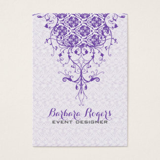 Elegant Girly White & Purple Floral Lace Business Card
