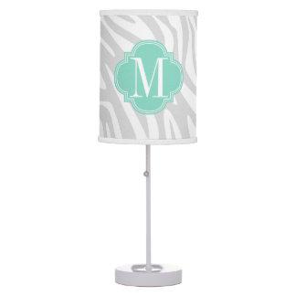 Elegant Girly Zebra Aqua & Grey Personalized Table Lamp