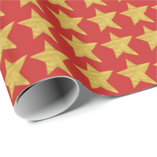 Elegant glam Christmas red gold star pattern Wrapping Paper