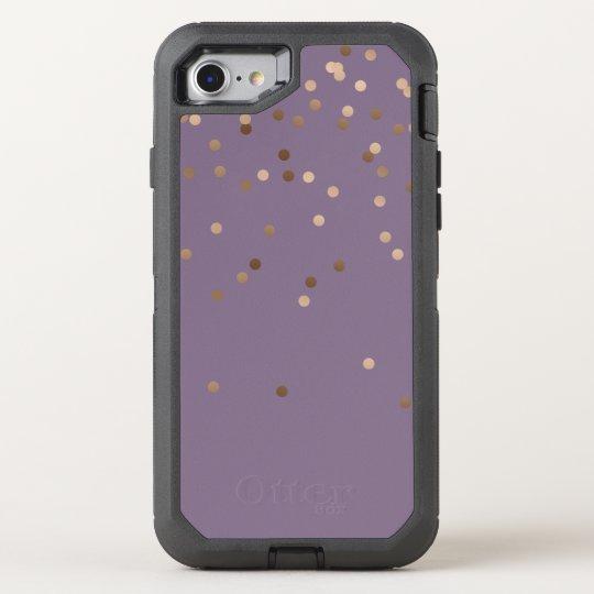 elegant glam rose gold foil confetti dots violet OtterBox defender iPhone 7 case