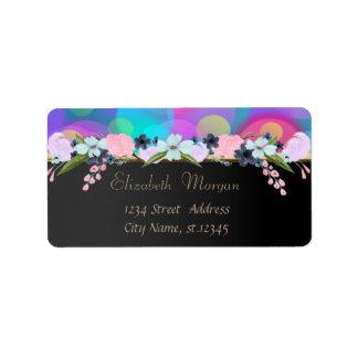 Elegant Glamorous Black,Bokeh,Flowers Label