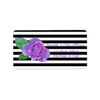 Elegant Glamorous Rose, Stripes Address Label