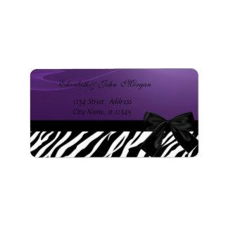 Elegant Glamorous  Stylish ,Purple ,Zebra Print Label