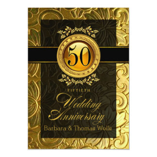 Elegant Glamour Embossed 50th Anniversary Card