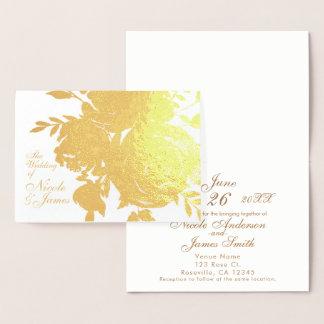 Elegant Glamour Gold Foil Rose Floral Wedding Foil Card