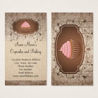 Elegant Glamour Mocha Damask Cupcake Bakery Business Card