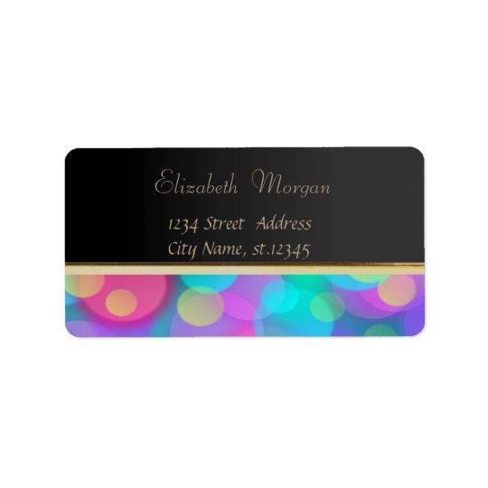 Elegant Glamourous Black,Glittery,Bokeh Label