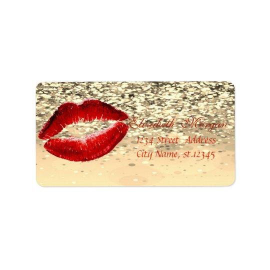Elegant Glamourous  Chic Glittery Bokeh,Lips Label