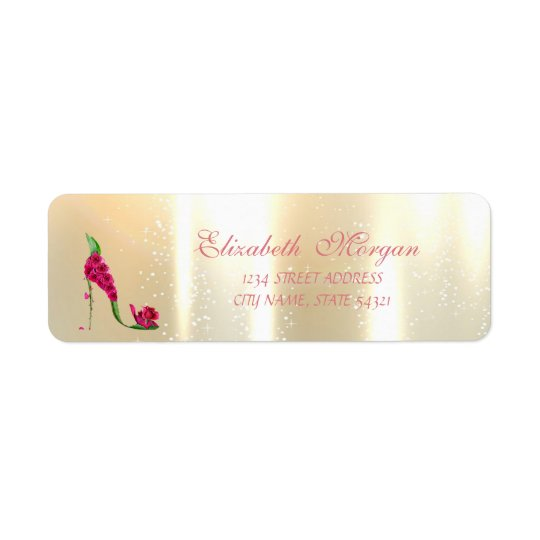 Elegant Glamourous , Floral Heels,Address Label