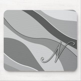 Elegant Glass Monogram Letter N Mouse Pad