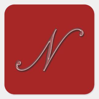 Elegant Glass Monogram Letter N Square Sticker