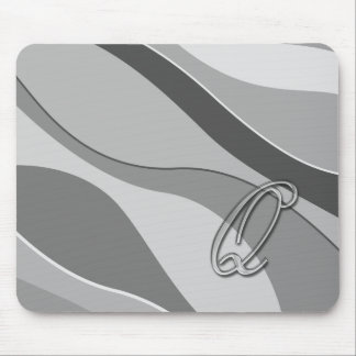 Elegant Glass Monogram Letter Q Mouse Pads