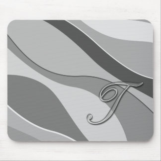 Elegant Glass Monogram Letter T Mousepads