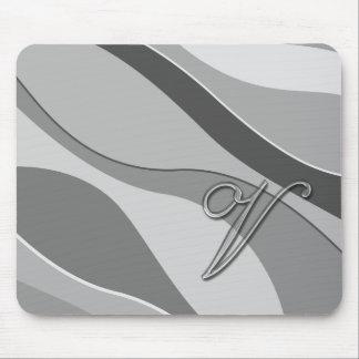 Elegant Glass Monogram Letter V Mousepads