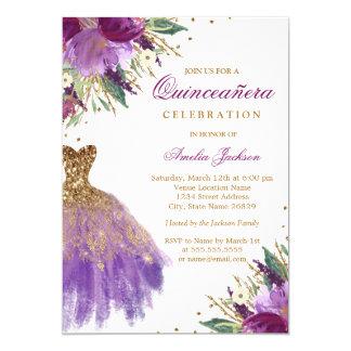 Elegant Glitter Amethyst Dress Quinceanera Card