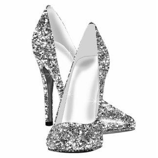 Elegant Glitter High Heel Shoes Photo Sculpture