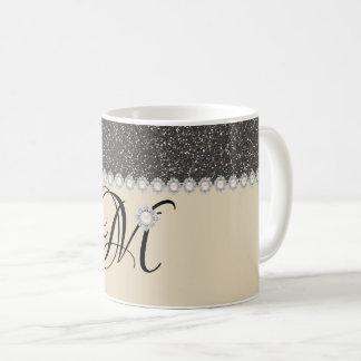 Elegant Glitter Monogram Mug
