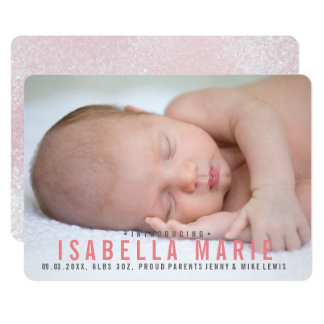 Elegant glitter pink girl announcement photo card