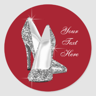 Elegant Glitter Red High Heel Shoe Stickers