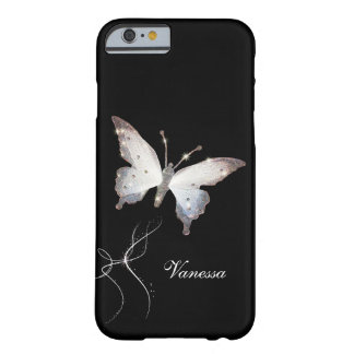 Elegant Glitter Sparkle Glamour Butterfly and Name Barely There iPhone 6 Case