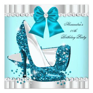 "Elegant Glitter Teal Blue Glamour High Heel Silver 5.25"" Square Invitation Card"