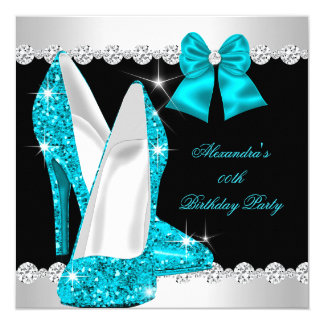 Elegant Glitter Teal Blue High Heels Birthday Card