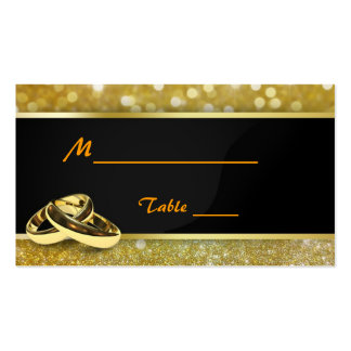 Elegant Glitter Wedding Rings - Place Cards Business Card Template