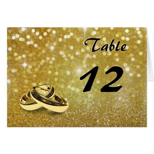 Elegant Glitter Wedding Rings - Table Number Card