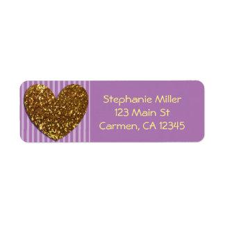 Elegant Glittered Gold Heart and Purple Background