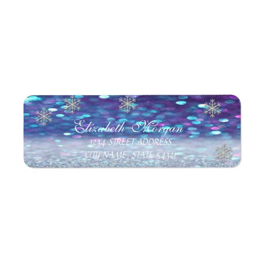 Elegant  Glittery Bokeh,Snowflake Address Label
